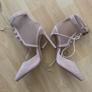 Womens NEW Strappy Beige Mesh Pointed Heels Size 8